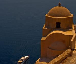 boat, Greece, and santorini image