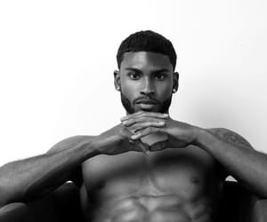 abs, black and white, and guys image