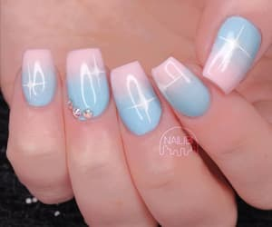 beauty, blue and pink, and nails image