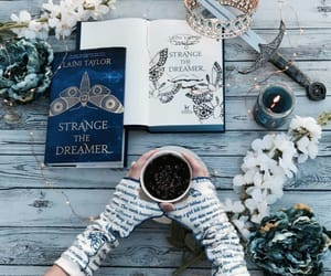 books, coffee, and crown image
