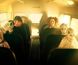 bus, mask, and Halloween image