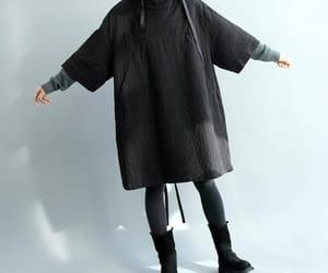black dress, etsy, and linen dress image