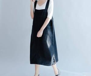 blue dress, pocket dress, and denim vest skirt image