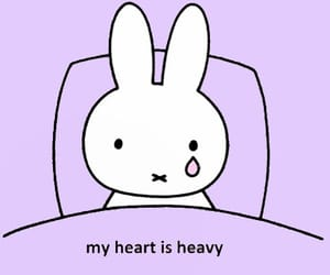sad, bunny, and heart image