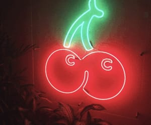cherries, neon, and red image