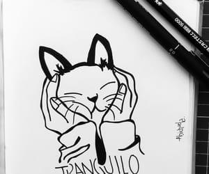 art, blackandwhite, and cat image