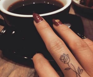 tattoo, coffee, and rose image