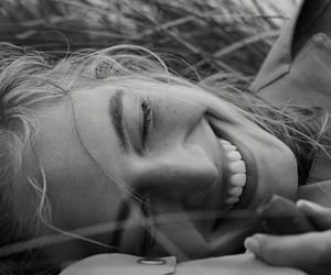 black and white, smile, and beauty image