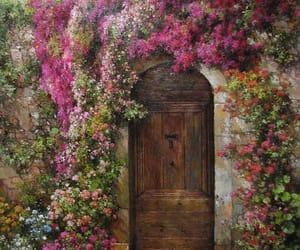door, flower, and flowers image