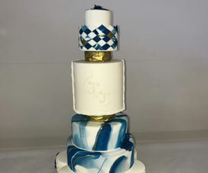 blue, cake, and gold image