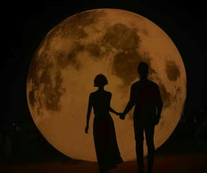 couple, moon, and love image