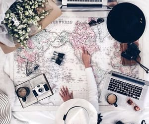 map, flowers, and travel image