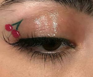 makeup, cherry, and eyes image