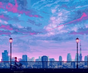 anime, clouds, and lights image