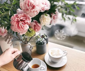 bouquet, cafe, and coffee image
