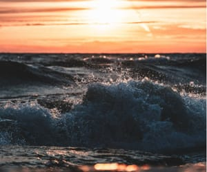 nature, sunset, and wave image