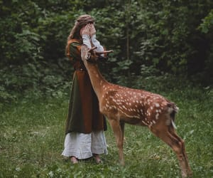 deer, girl, and animal image