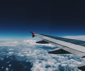airplane, blue, and Flying image