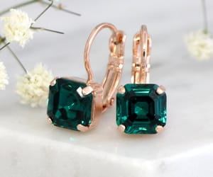 jewelry, wedding, and emerald earrings image