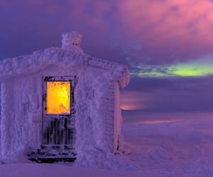 snow, lapland, and cabin image