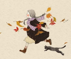 cat, girl, and illustration image