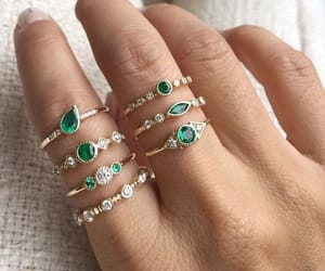 jewelry, emerald, and gold image