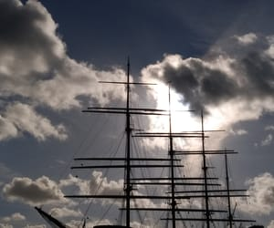 boat, clouds, and sailing image