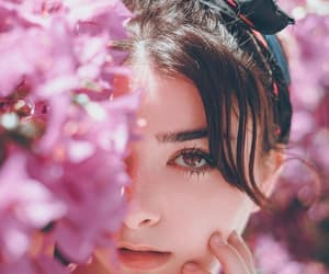 beautiful, flowers, and model image