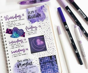 bullet journal, purple, and college image