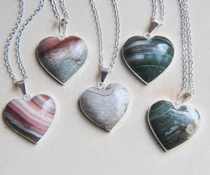etsy, raw stone necklace, and heart necklace image