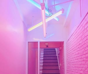 lights, neon, and stairs image