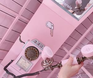 aesthetic, pink, and telephone image