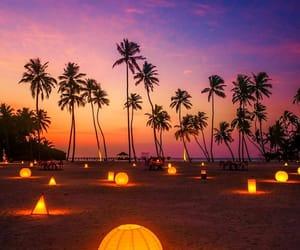 Maldives, beach, and lights image