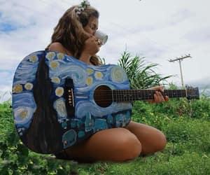 guitar, van gogh, and art image