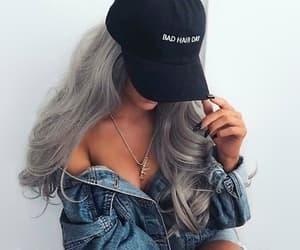 cap, denim, and girl image