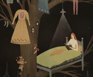 bed, mushroom, and tree image
