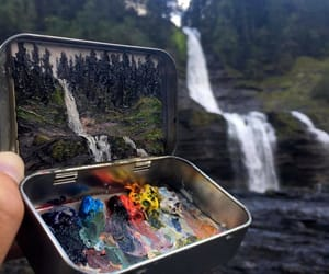 art, waterfall, and montain image