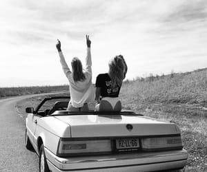 girl, black and white, and friendship image