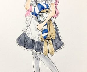 girl, onepiece, and pink image