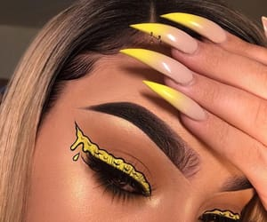 nails, makeup, and yellow image
