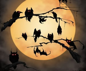 owl, Halloween, and bats image