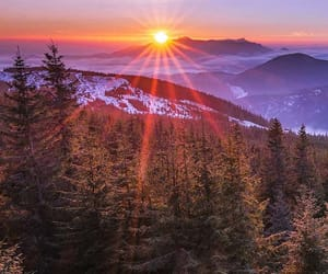 mountains, sun, and sunset image