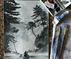 art, drawing, and river image