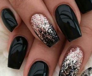 black, glitter, and nail design image