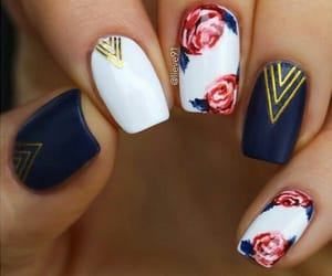 blue and white, roses, and nail design image