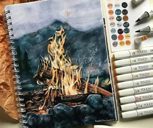 art, drawing, and fire image