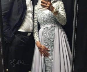 hijab, wedding, and couple image