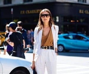 heels, outfit, and white outfit image