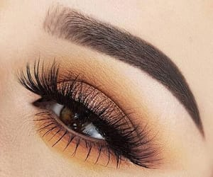 lashes, make up, and brown shadow image