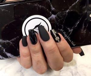 black, nails, and matte nails image